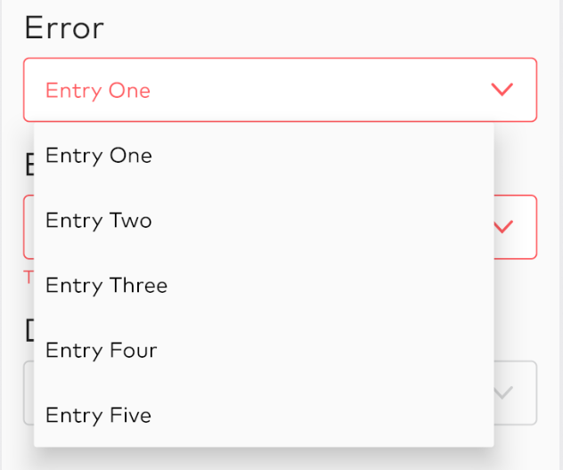Dropdown in error state expanded
